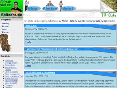 Screenshot meiner alten Website (April 2007)