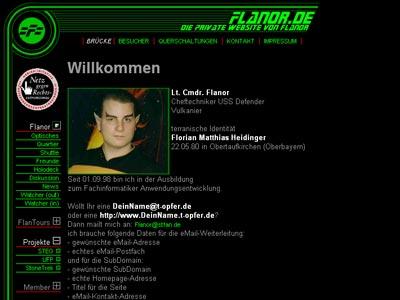 Screenshot meiner alten Website (Mai 2001)