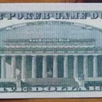Fünf-Dollar-Schein hinten